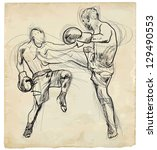 muay thai  combat martial art...   Shutterstock .eps vector #129490553