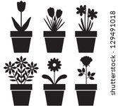 set of silhouettes of flowers... | Shutterstock .eps vector #129491018