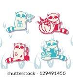 vector raccoons give flowers ...   Shutterstock .eps vector #129491450