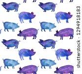 Blue Watercolor Pigs.