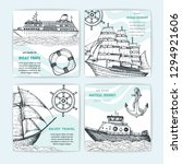 hand drawn nautical banner set. ... | Shutterstock .eps vector #1294921606