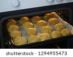 baked donut dipped in... | Shutterstock . vector #1294955473