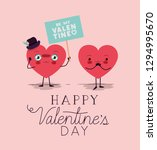 hearts love couple kawaii... | Shutterstock .eps vector #1294995670
