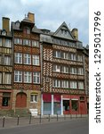 rennes old city center famous... | Shutterstock . vector #1295017996