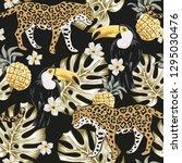 toucan birds  leopard animals ... | Shutterstock .eps vector #1295030476