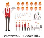 restaurant staff man waitress... | Shutterstock .eps vector #1295064889