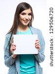 white banner .teenager girl... | Shutterstock . vector #129506720