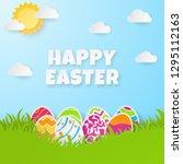 happy easter background.... | Shutterstock .eps vector #1295112163