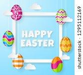 happy easter background.... | Shutterstock .eps vector #1295112169