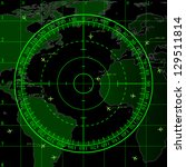 green radar screen over square... | Shutterstock . vector #129511814