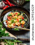 fried shrimps on pan with fresh ... | Shutterstock . vector #129514229