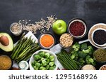 vegan protein source. healthy... | Shutterstock . vector #1295168926