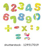 colorful numbers for children | Shutterstock .eps vector #129517019