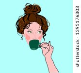 woman with messy bun drinking... | Shutterstock .eps vector #1295176303