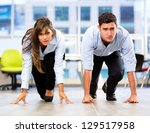competitive business couple... | Shutterstock . vector #129517958