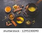 healthy ingredients of turmeric ... | Shutterstock . vector #1295230090