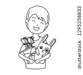 young man with roses and rabbit | Shutterstock .eps vector #1295258833