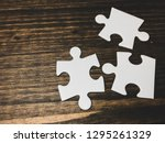 white pieces of puzzle on... | Shutterstock . vector #1295261329