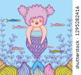 mermaid woman with fishes and... | Shutterstock .eps vector #1295282416