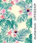 tropical vector seamless... | Shutterstock .eps vector #1295302429