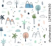seamless pattern with palm...   Shutterstock .eps vector #1295309650