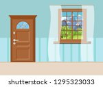 wooden closed entrance door... | Shutterstock .eps vector #1295323033