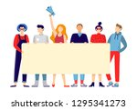 protesting people group.... | Shutterstock .eps vector #1295341273