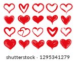 grunge hearts. hand drawn red... | Shutterstock .eps vector #1295341279