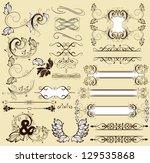 vector set of calligraphic... | Shutterstock .eps vector #129535868