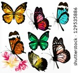 set of realistic colorful... | Shutterstock .eps vector #129535886