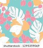 beautiful seamless floral... | Shutterstock .eps vector #1295359069