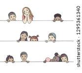 Stock vector hand drawn illustration of diverse children peeking behind a horizontal line 1295361340