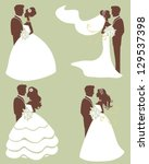 four wedding couples silhouettes | Shutterstock . vector #129537398