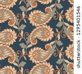 paisley floral illustration in... | Shutterstock . vector #1295401546