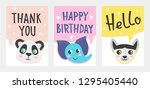 set of cute greeting card and... | Shutterstock .eps vector #1295405440