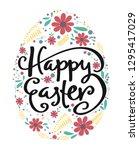 happy easter calligraphy in egg ... | Shutterstock .eps vector #1295417029