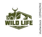 hunting logo  deer hunting stamp | Shutterstock .eps vector #1295442943