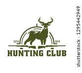 hunt badge  deer hunting stamp | Shutterstock .eps vector #1295442949