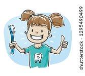 cute cartoon child girl... | Shutterstock .eps vector #1295490499