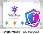 3d shield tech vector logo... | Shutterstock .eps vector #1295509066