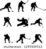 hockey players silhouettes | Shutterstock .eps vector #1295509513