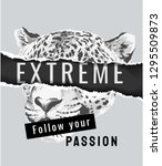 extreme slogan paper ripped off ... | Shutterstock .eps vector #1295509873