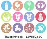 set of twelve colorful baby boy ... | Shutterstock .eps vector #129552680