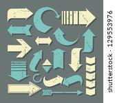 a set of grunge arrows in... | Shutterstock .eps vector #129553976