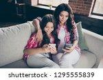 portrait of two nice cute...   Shutterstock . vector #1295555839
