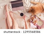 top view of workspace with... | Shutterstock . vector #1295568586