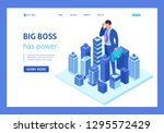 isometric big businessman looks ... | Shutterstock .eps vector #1295572429