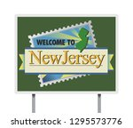 welcome to new jersey road sign | Shutterstock .eps vector #1295573776