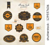 set of retro stickers and...   Shutterstock .eps vector #129557636