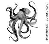black octopus with tentacles.... | Shutterstock . vector #1295587693